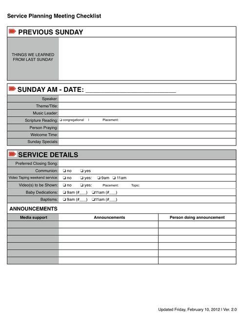 Service Planning Checklist
